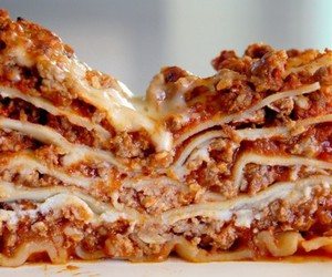 food, lasagna, and pasta image