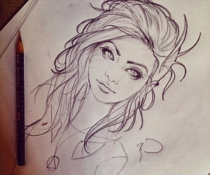 black and white, drawing, and hair image