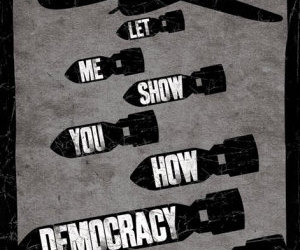 democracy, war, and text image