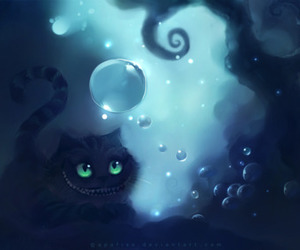 Cheshire cat, purple, and bubbles image