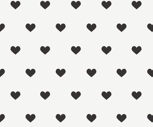 background, black and white, and hearts image
