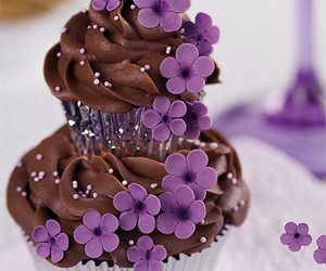 cupcake, flowers, and chocolate image