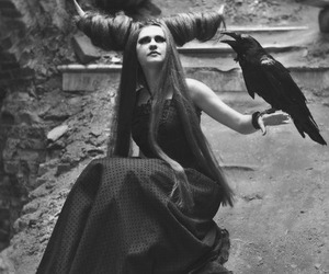 black and white, gothic, and raven image