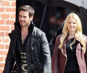 once upon a time, emma and hook, and captain hook image
