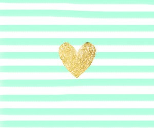 wallpaper, heart, and gold image