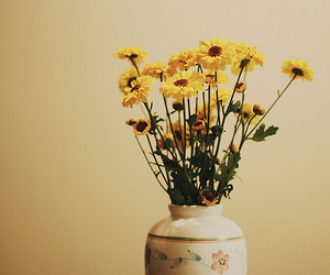 flowers, vase, and yellow image