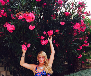 blonde hair, pink, and summer image