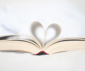book, heart, and white image