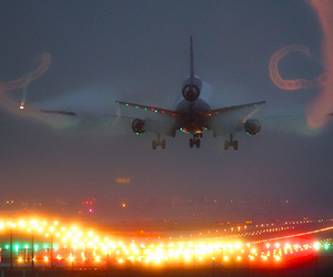 airplane, lights, and photography image