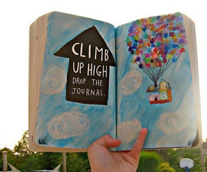 balloons, book, and up image