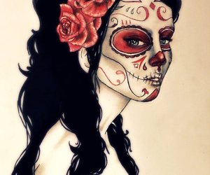 day of the dead, face paint, and rose image