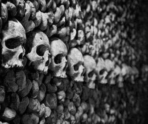 black and white, Darkness, and skull image