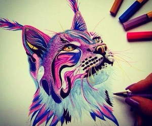 art, draw, and cat image