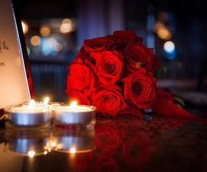 rose, flowers, and candle image