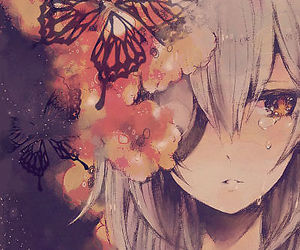 anime, sad, and butterfly image