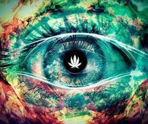 eye, weed, and eyes image