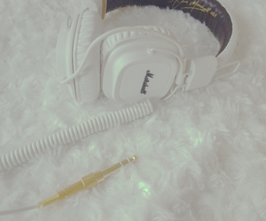 golden, headphones, and sound image