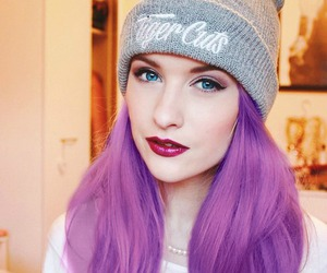 beanie, purple hair, and red lips image