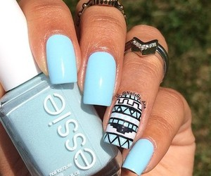 nails, blue, and nail art image
