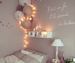 bed, light, and romantic image