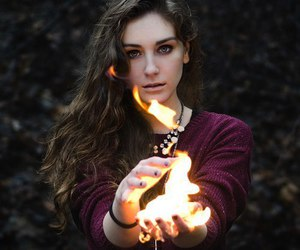 fire, girl, and magic image