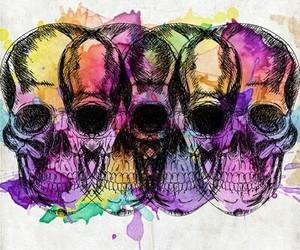 art, painting, and skulls image