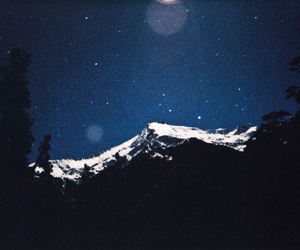 mountains, night, and snow image