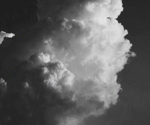 black and white, clouds, and grunge image