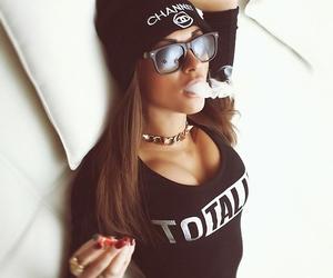 girl, smoke, and chanel image