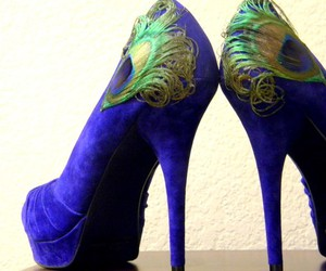 shoes, heels, and peacock image