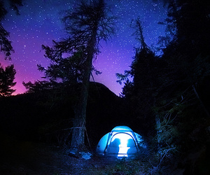 stars, tent, and night image