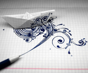 boat, drawing, and ink image