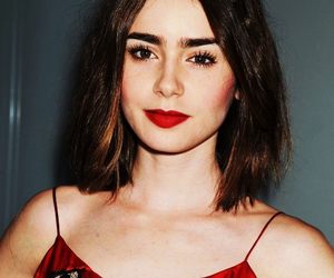 beautiful, red, and lily collins image