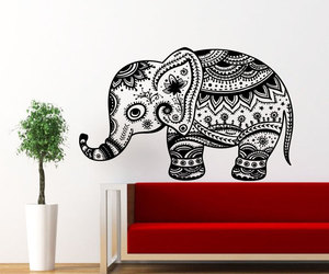 floral pattern, indian elephant, and wall decor bedroom image