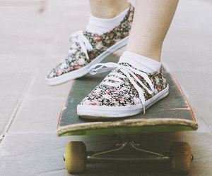 girl, skate, and sneakers image