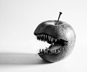 apple, black and white, and boy image