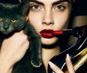 cat, model, and cara delevingne image