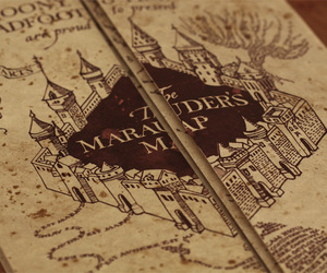 harry potter, marauders map, and book image