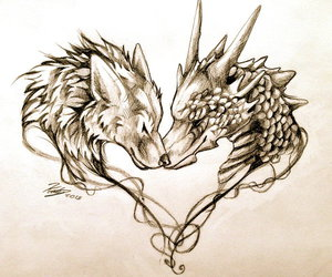 dragon, wolf, and drawing image