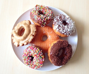 chocolate, doughnut, and sprinkles image