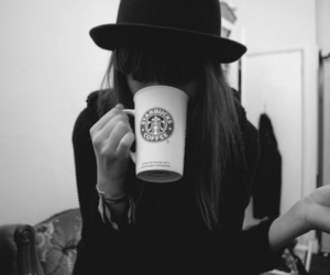 starbucks, girl, and black and white image