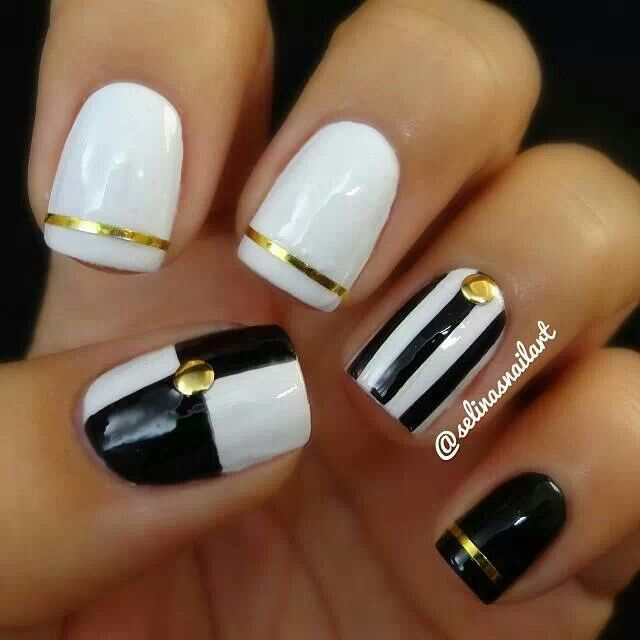 Black Nail Designs W White And Gold On We Heart It