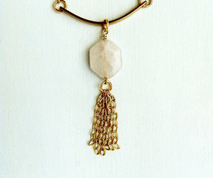 tassel necklace, fringe necklace, and geometric brass jewelry image