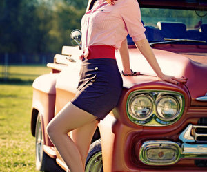 car, Pin Up, and vintage image
