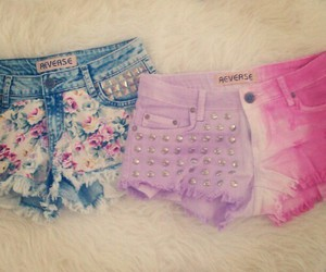 shorts, pink, and flowers image