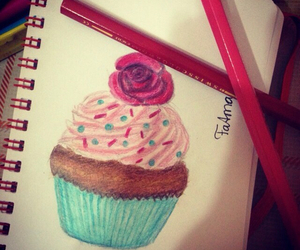 art, blue, and cupcake image