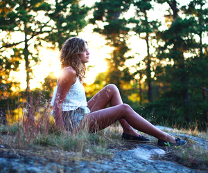 field, sunlight, and girl image