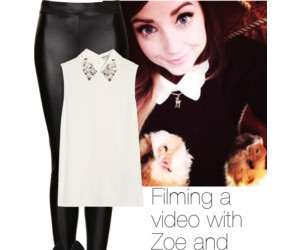 outfit, filming, and zoella image