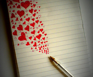 love, hearts, and pen image