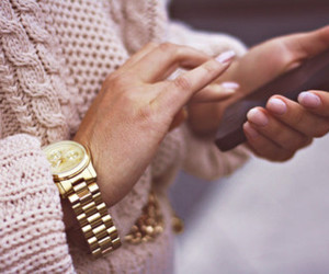 chic, gold, and nails image